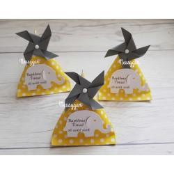Boîte dragées berlingot jaune et pois blancs avec éléphant