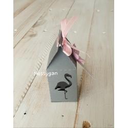 Boîte pour dragées rose ou gris flamant rose