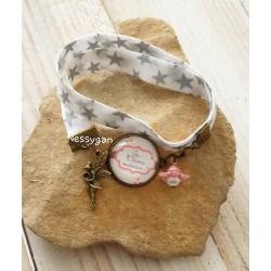 """Bracelet liberty étoiles argentées """"Je t'aime maman"""""""