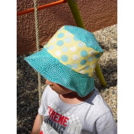 Bob en tissu à pois bleu et blanc pour enfant