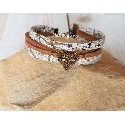 Bracelet liberty adelajda étoiles or & suédine bronze pailleté