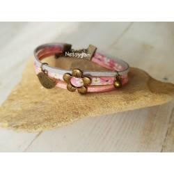 Bracelet liberty mitsi rose suédine rose et gris pailleté