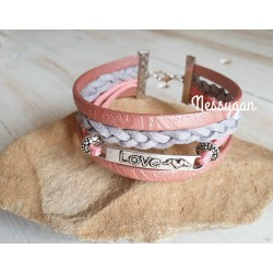 Bracelet cuir rose & suédine gris pailleté