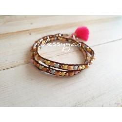 Bracelet double tour cuir perles Swarovski