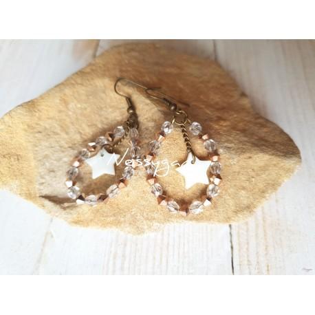 Boucles d'oreille perles de crystal Swarovski et de verre