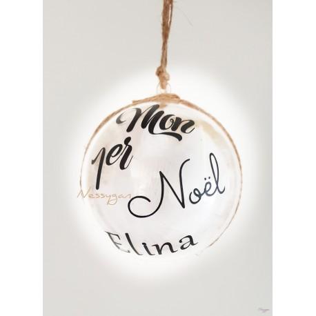 """Boule de Noël """"Mon 1er Noël"""" couleur or personnalisée par un prénom"""
