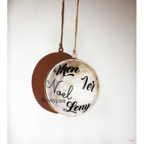 """Boule de Noël """"Mon 1er Noël"""" couleur rouge / or personnalisée par un prénom"""