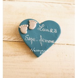 "Badge "" Coeur "" pour infirmière, aide-soignante, sage-femme"