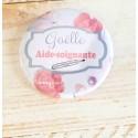 Badge flamant rose personnalisé rond infirmière, aide-soignante