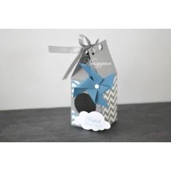 Boîte à dragées chevron bleu et gris avec moulin à vent