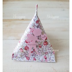 Boîte dragées berlingot fée thème liberty rose