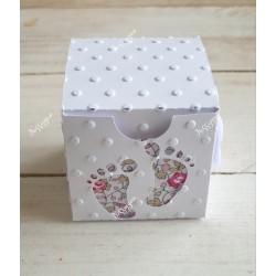 "Boîte à dragées blanche "" petons"" & Liberty Eloïse rose"