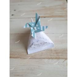 Boîte pour dragées berlingot blanche moulin à vente rose avec étoiles