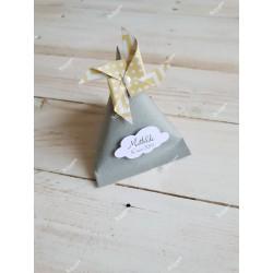 Boîte pour dragées berlingot blanche moulin à vent vert d'eau