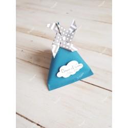 Boîte pour dragées berlingot bleue pétrole moulin à vent gris à pois