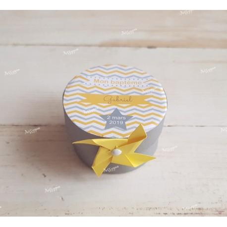 Boîte pour dragées ronde chevron jaune et gris