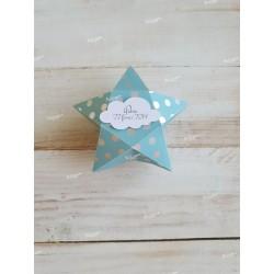 Ballotin étoile pour dragées bleu d'eau