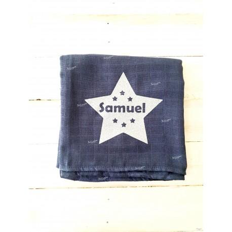 """Lange bleu pour bébé """"étoile """" personnalisé par un prénom"""