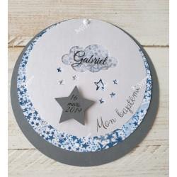 Faire-part étoiles bleues et gris pour baptême
