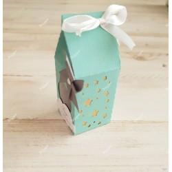Boîte pour dragées vert d'eau étoiles or et moulin à vent