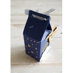 Boîte pour dragées bleue étoiles or et moulin à vent