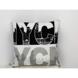 """Coussin déco NYC New-york City """" blanc/gris/noir"""""""