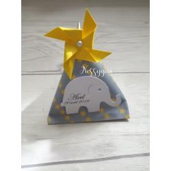 Boîte dragées berlingot gris et étoiles jaunes avec éléphant