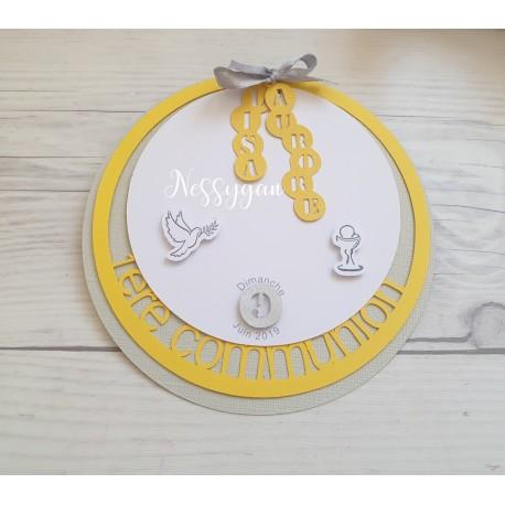 Faire-part rond jaune et gris perle 1ere communion