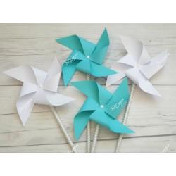 Moulins à vent x 4 bleu et blanc