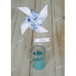 Marque-place thème moulin à vent liberty étoiles bleues