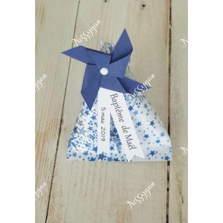 Boîte dragées berlingot thème étoiles liberty bleues