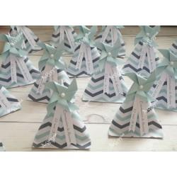 Boîte dragées berlingot chevrons gris & vert d'eau moulin à vent