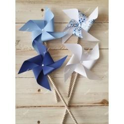 Moulins à vent x 4 bleu et étoiles