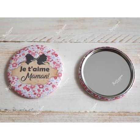 """Miroir de poche personnalisé """" Je t'aime maman"""""""