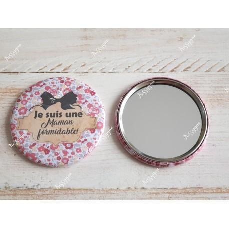 """Miroir de poche personnalisé """" Je suis une maman formidable """""""