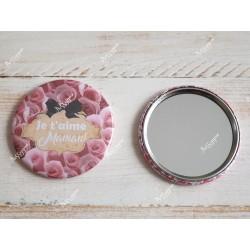 """Miroir de poche fleurs personnalisé """" Je t'aime maman"""""""