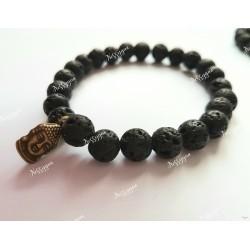 Bracelet perles de lave Bouddha