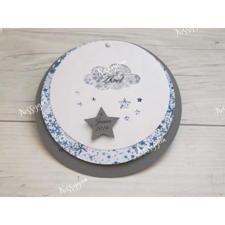 Faire-part de naissance étoiles bleues et gris