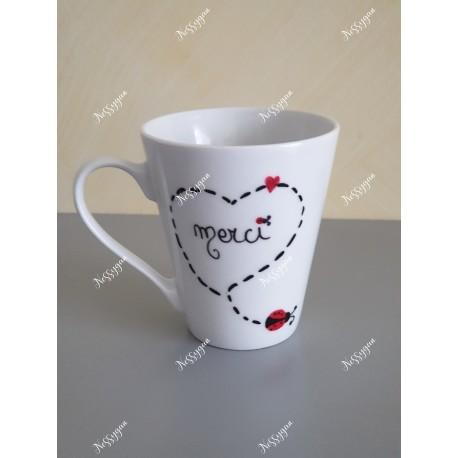 """Mug personnalisé coccinelle """"Merci"""""""