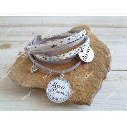 "Bracelet ""Merci Atsem"" Liberty Adelajda étoiles & suédine gris pailleté"