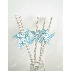 Pailles x6 moulin à vent bleu chevron et pois