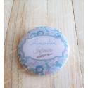 Badge fleurs liberty personnalisé rond infirmière, aide-soignante, sage-femme