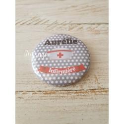 Badge personnalisé rond infirmière, aide-soignante, sage-femme