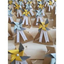 Boîte pour dragées berlingot kraft et moulin à vent jaune, gris