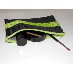 Trousse noire et verte à pois