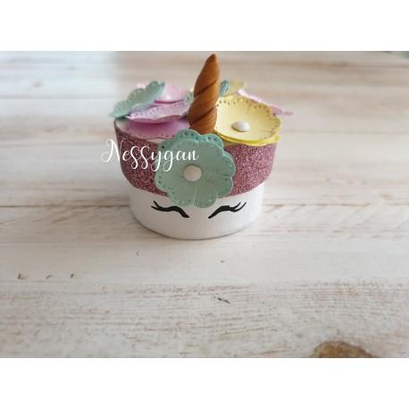 Boîte pour dragées ronde thème licorne pailletée