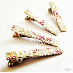Barrettes pinces crocodile Liberty Eloise rose x2