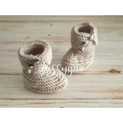 Chausson boots beige pour bébé