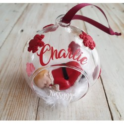 Boule de Noël prénom en verre flocons de neige