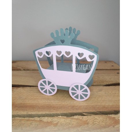 Boîte à dragées rose et grise Carrosse de princesse